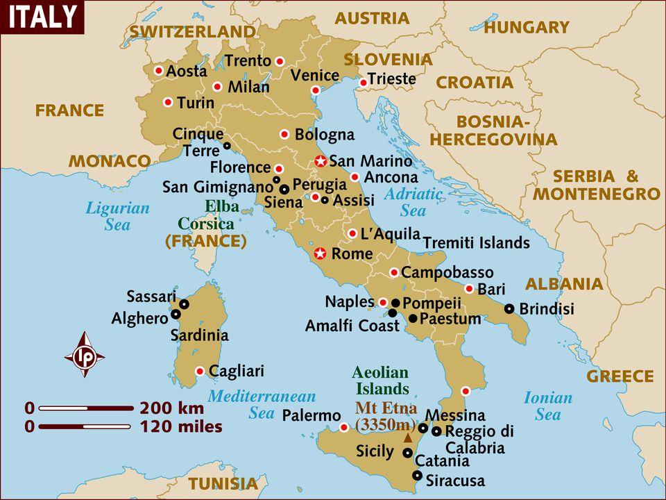 Geografija Italije Mapa I Geografske Cinjenice